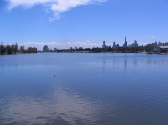 Albert Park lake. Melbourne skyline in the background.
