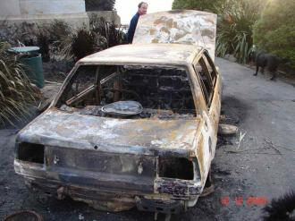 Outside of my burnt car