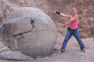 Jenel Bode displaying a Moeraki boulder