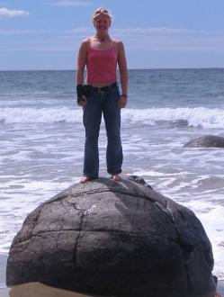 Jenel Bode on top of a Moeraki boulder