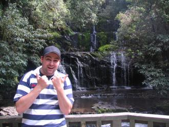 Jon Kitchen in front of the Purakenui Falls