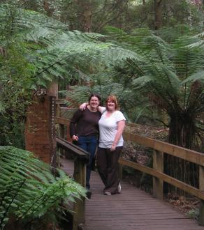 Natasha Munro and Lisa McClintock outside the Hastings Caves