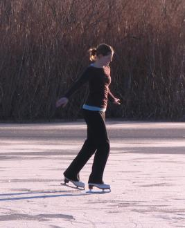 Sarah strutting her stuff in her figure skates