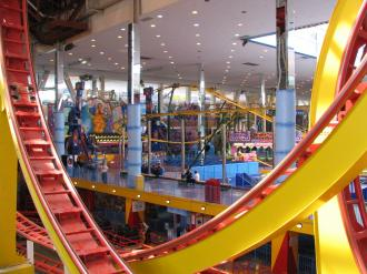 The roller coaster in the West Edmonton Mall.