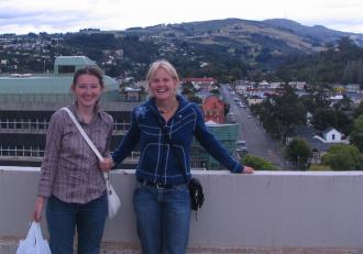 Yvette Absalom and Jenel Bode on top of the University of Otago Chemistry Department roof.