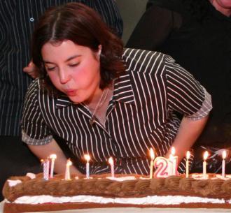 Debbie Jordan blowing out her candles