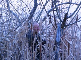 Aardwolfs Southern Migration: Clive Murphie making his way through the rushes in an attempt to reach the ice in the center of the dam without falling through first!