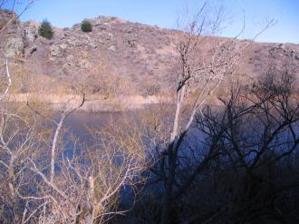 Aardwolfs Southern Migration: the top basin of the Manorburn dam.