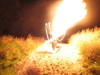 Neil Dudley breathing fire