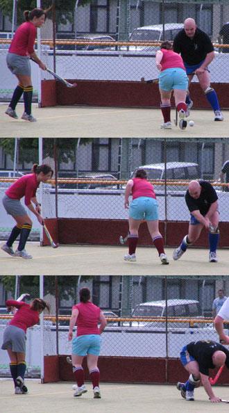 Deb Handock scores off an assist from Paula Ross