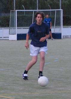Nathan playing soccer