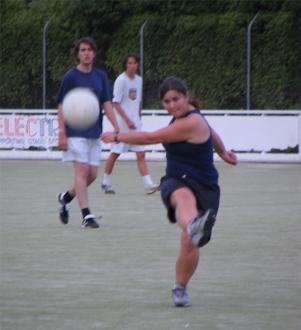 Becky Brassett fires the ball at me