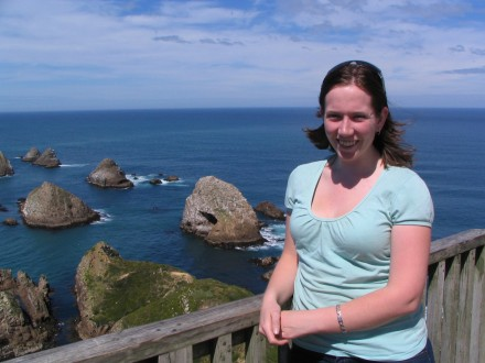 Sarah beside the Nugget Point lighthouse
