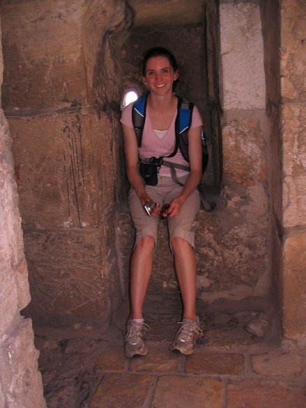 Vicki Argyle in an alcove at Davids Castle in Jerusalem, Israel