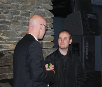 Paul Twemlow and I discussing geek stuff