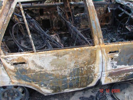 Ryan Hellyer's burned car