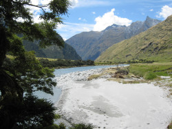 Beach by Matukituki river