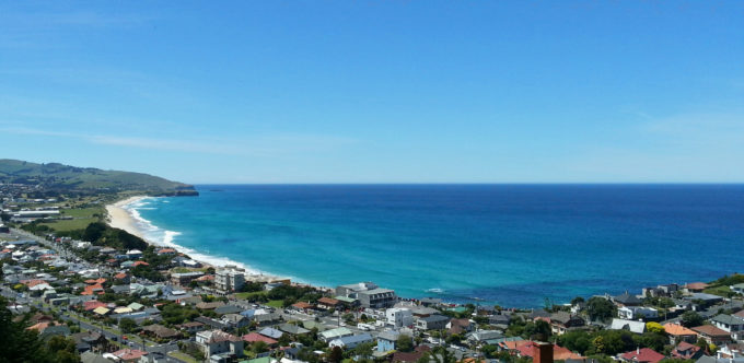 View towards St Kilda and St Clair beaches in Dunedin