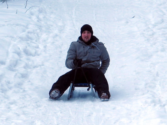 Boban sledding at Korketrekkeren