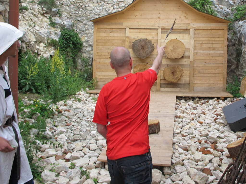 Me (Ryan Hellyer) throwing an axe at Râșnov Citadel