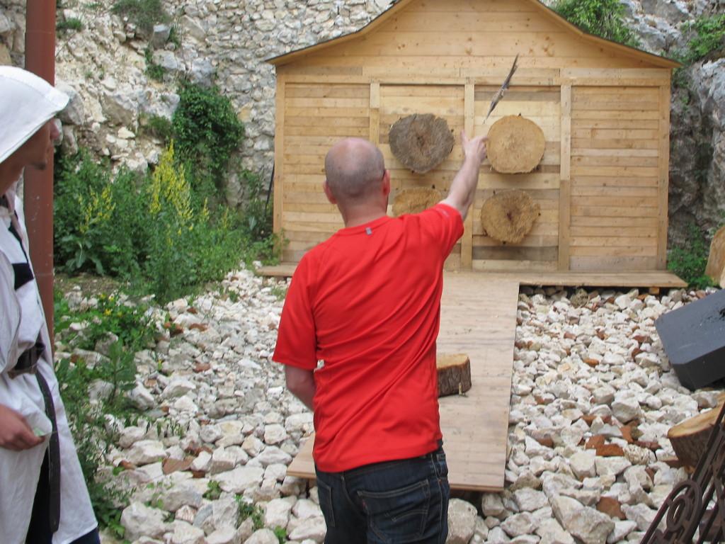 Me (Ryan Hellyer) throwing an axe at Râșnov Citadel