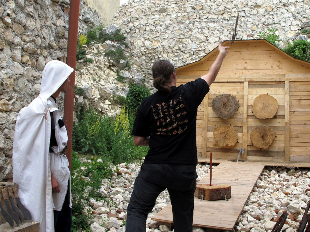 Axe throwing at Râșnov Citadel