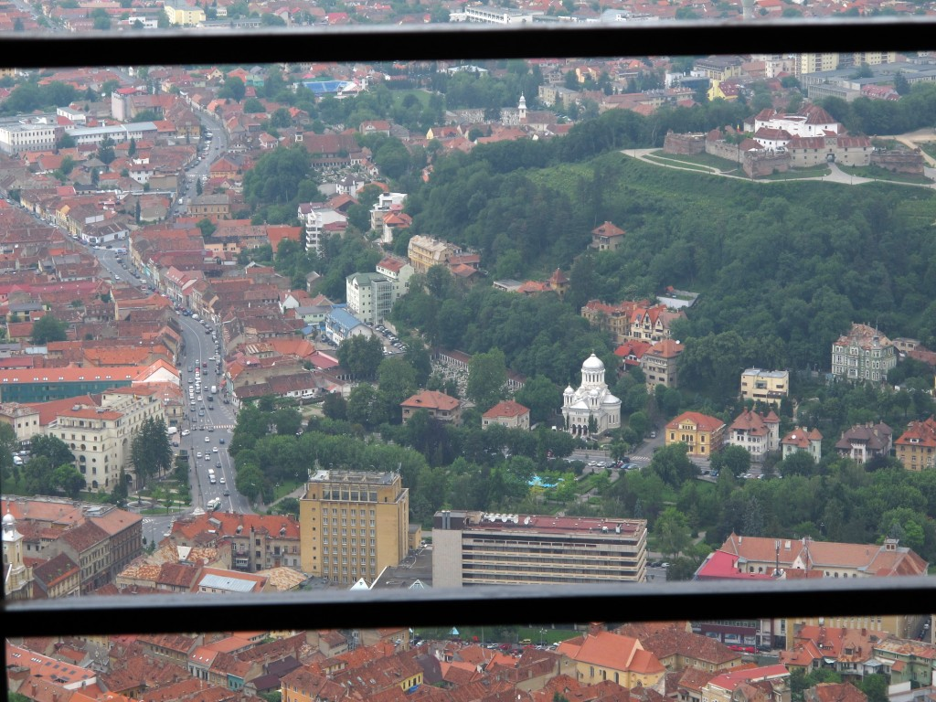 "View from inside the ""B"" of the View of the Brașov sign on Tâmpa"