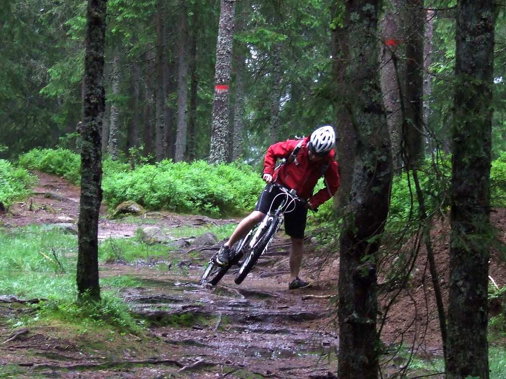 Pulling bike from mud