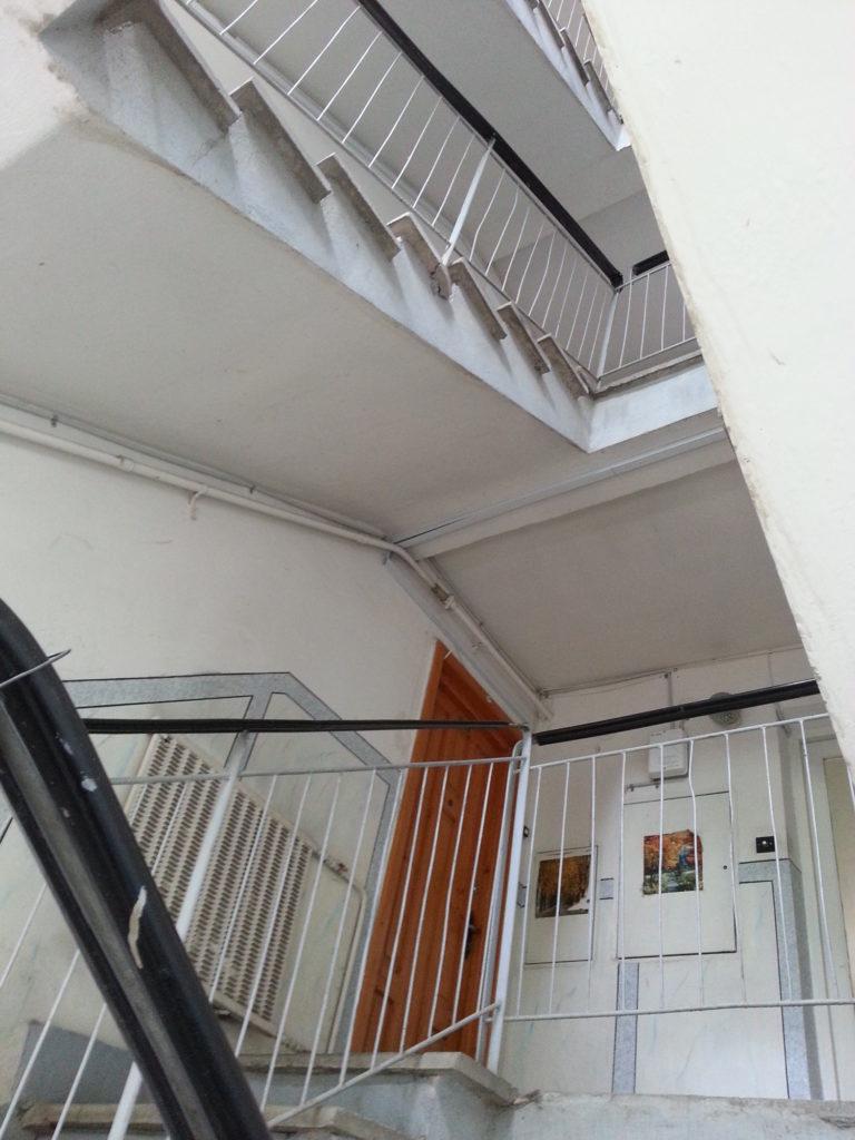 Soviet era apartment stairwell
