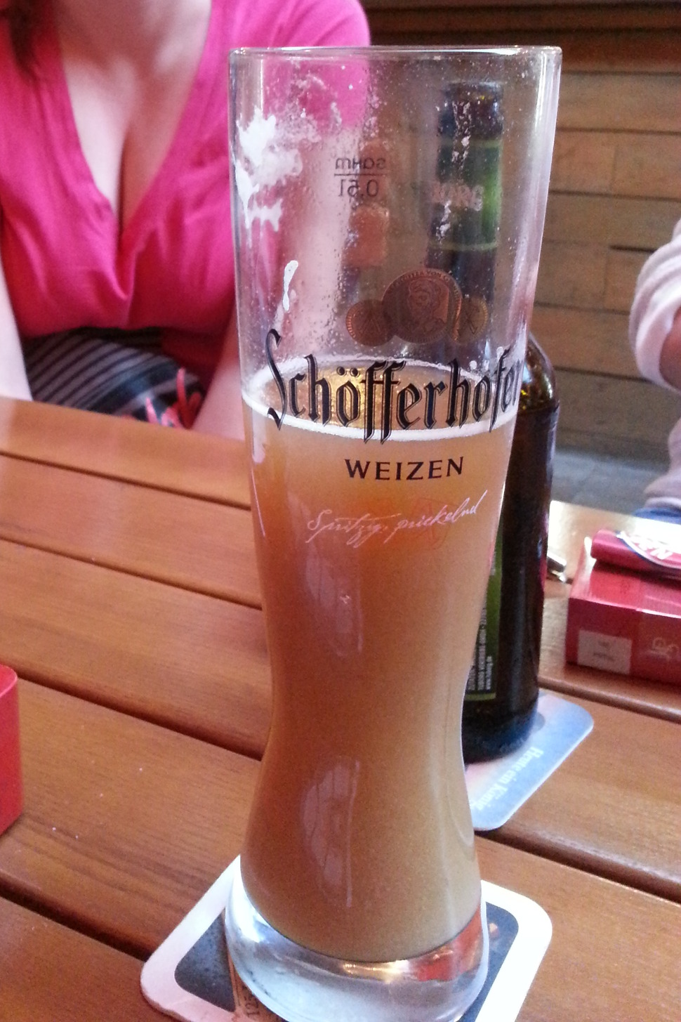 A very strange but tasty beer, called a Bananenweizen. It's a mixture of Weissbeer and banana juice!? Thankfully it tastes pretty good :D