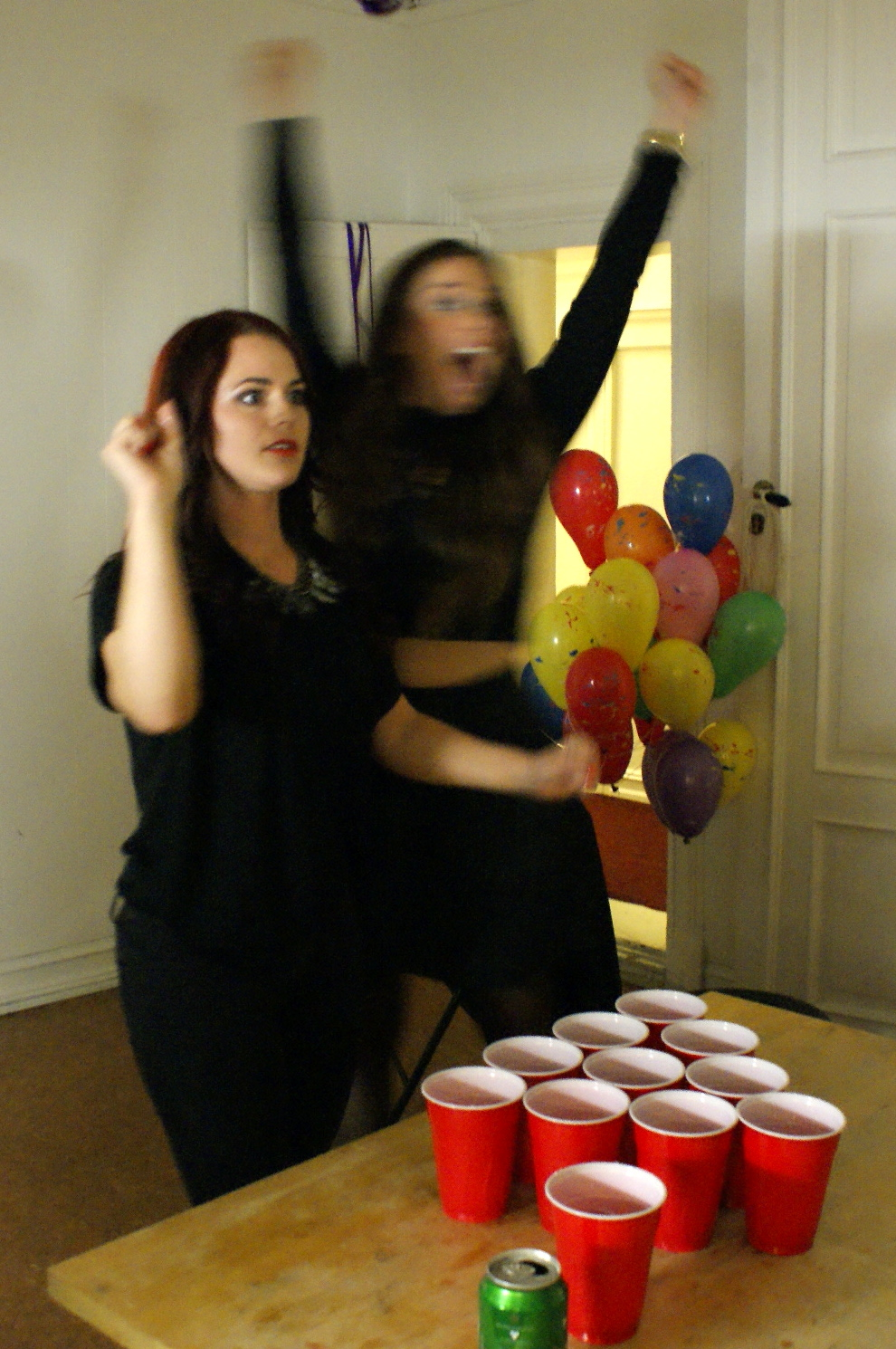 Stunned beer pong winners