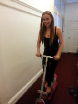 My lovely flatmate Charlotte going for a cruise down our hallway