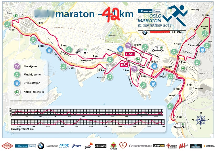 This map shows the route for the last half of the full-marathon. The first half involves a double loop of the western side of this map.
