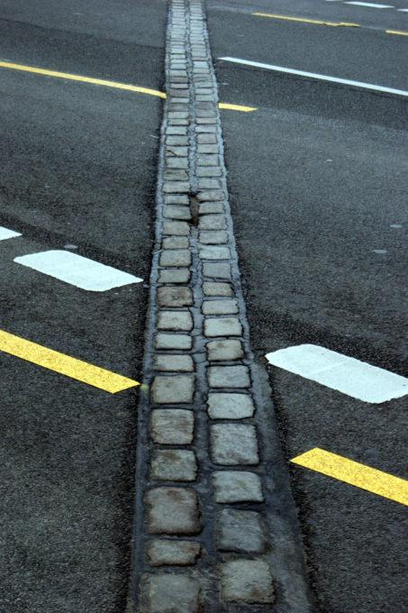 Bricks marking the former location of the Berlin wall