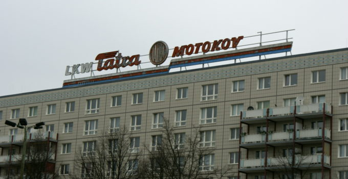 Communist era sign advertising car manufacturers in Beriln