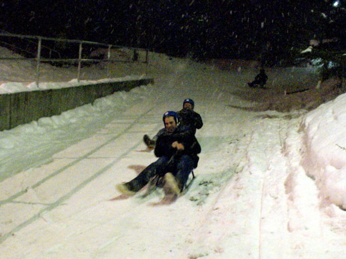 Marko sledding in Norway