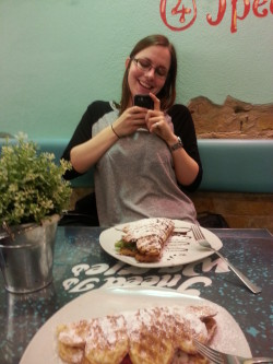 Meta picture of Sara photographing and my kebab photographing her and her kebab.